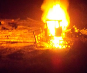 В Приморском районе сгорели четыре трактора