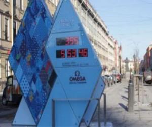 На Невском остановились Олимпийские часы