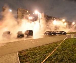 Очередной прорыв трубы на проспекте Ветеранов